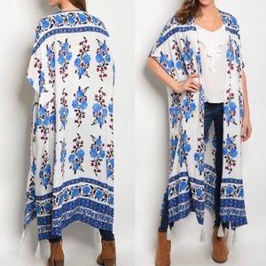 White Blue Red Boho Floral Open Cardigan Kimono